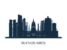 Buenos Aires Skyline, Monochro...