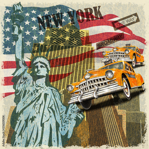 Fototapeta New York vintage poster.