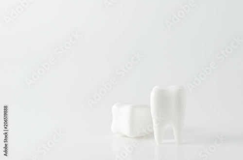 Fotografie, Obraz  Close up of white teeth dental model on white background