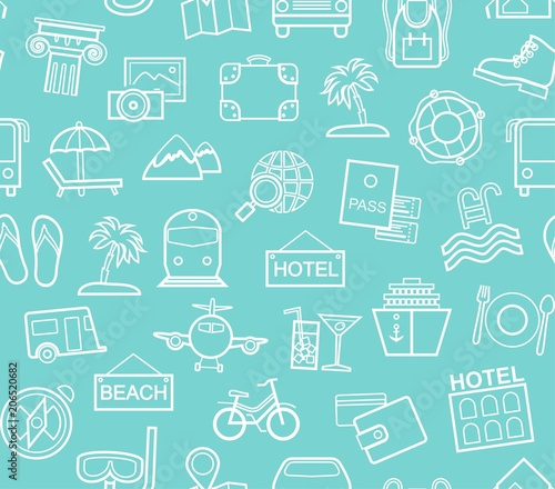 Cotton fabric Travel, vacation, tourism, vacation, seamless pattern, monochrome, outline, blue, vector. Different types of holidays and ways of travelling. White line drawings on a turquoise field.