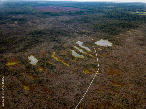 Papiers peints Marron chocolat drone image. aerial view of swamp lake