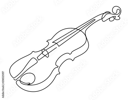 Fotomural continuous line drawing of three-quarter violin vector