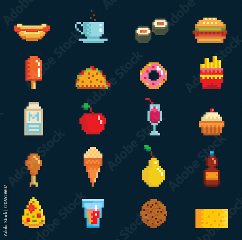 Vector Pixelart Fast Food Icons Sign Computer Game Design