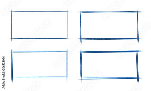 Set of hand drawn grunge style dark blue vintage ball pen rectangle doodle scribbles on white paper background Canvas Print