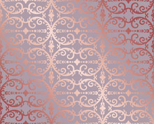 Seamless Rose Gold Floral And Foliage Wallpaper