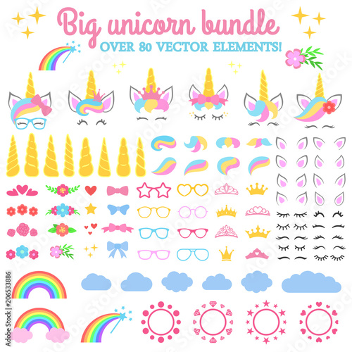 Photo Vector collection - Big unicorn bundle