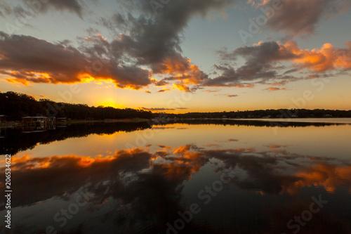 Stunning Orange Sunset Over a Still Lake