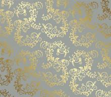 Gold Seamless Foliage Pattern ...