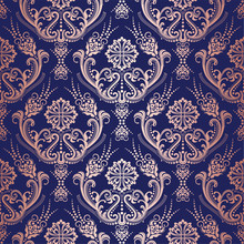 Rose Gold Floral Damask Wallpaper On Navy Background