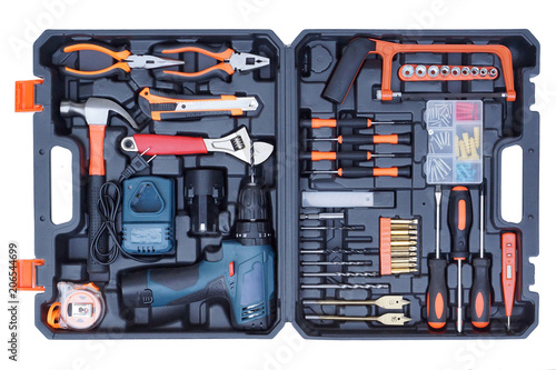 Obraz Tool box set for mechanic isolated on white - fototapety do salonu