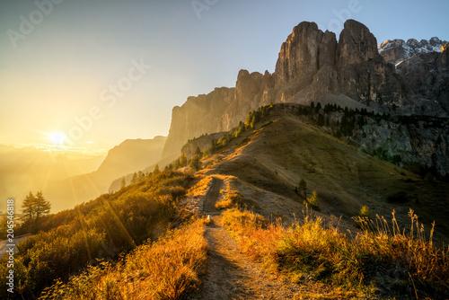 Alpes Dolomites, Italy Landscape at Passo Gardena.