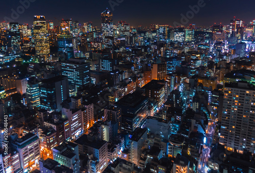 Tuinposter Tokio Aerial view of the cityscape of Minato, Tokyo, Japan at night