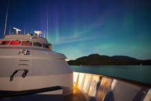 Northern Lights, Aurora Borealis Above A Cruise Ship
