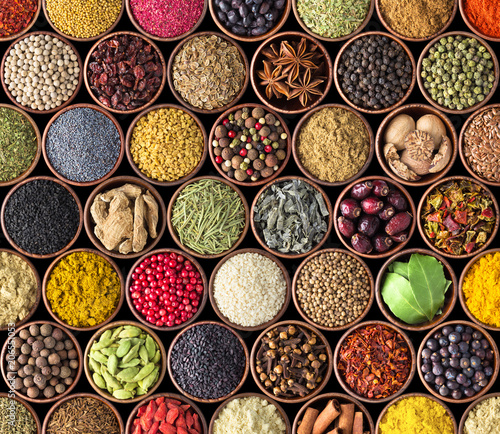 Recess Fitting Spices Spices and herbs isolated on black background. Various spices for food
