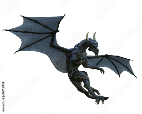 black dragon in a white background Fototapet