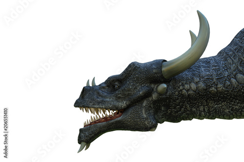 Photo black dragon in a white background