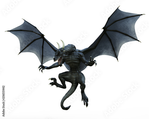 Foto black dragon in a white background