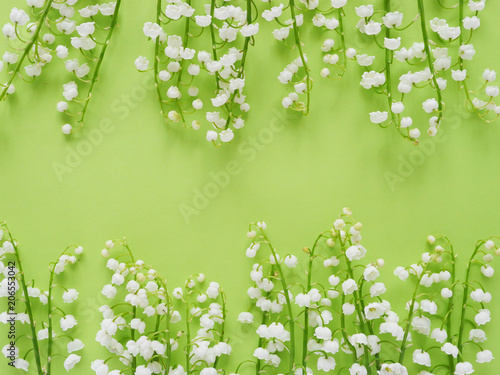 Romantic gentle flower background, lily of the valley on a green background, top view, flat layout.