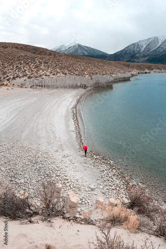 Walking the Crowley Lake beach by the columns with the Sierra Nevada behind with Canvas Print