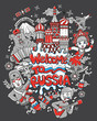 welcome to russia. set of clipart russia items illustration