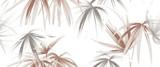 Wzór roślin tropikalnych, różowe złoto i białe liście palmowe na białym tle - 206554410