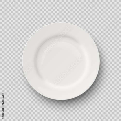 Vector realistic porcelain plate isolated on transparent background. Wall mural