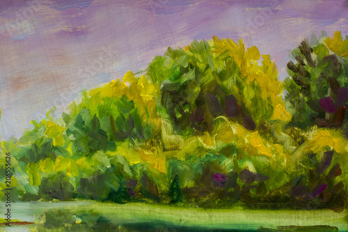 Poster Lavendel Abstract green trees. Fragment of oil painting landscape.