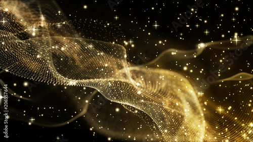 Photo sur Aluminium Fractal waves Gold color abstract background texture design with waves and stars