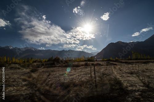 Deurstickers Zwart Landscape of Leh Ladakh