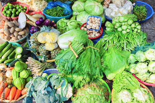 Poster  Green vegetables on street market in Hanoi Vietnam