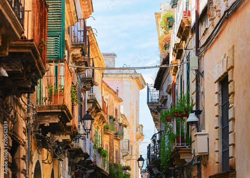 Narrow ancient street in Siracusa Sicily
