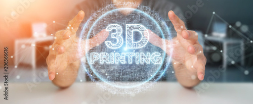 Businessman using 3D printing digital hologram 3D rendering