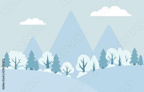 Fotobehang Lichtblauw Vector flat landscape winter.