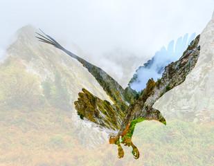 Panel Szklany Góry Bald eagle on mountain landscape background.