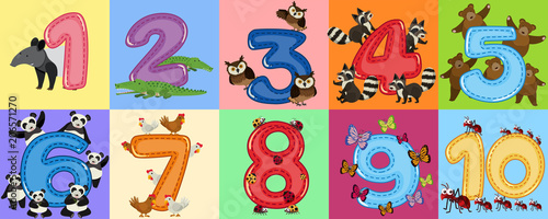 Leinwand Poster Mathematics Count Number Animal Theme