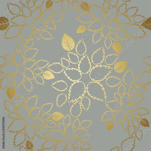 bezszwowy-zloty-koronkowy-liscia-wzor-na-popielatym-tle