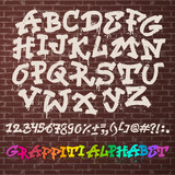 Fototapeta Młodzieżowe - Alphabet graffiti vector alphabetical font ABC by brush stroke graffity font with letters and numbers or grunge alphabetic typography illustration isolated on brick wall background