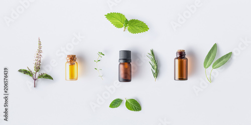 Recess Fitting Aromatische Bottle of essential oil with fresh herbal sage, rosemary, oregano, thyme, lemon balm spearmint and peppermint setup with flat lay on white background