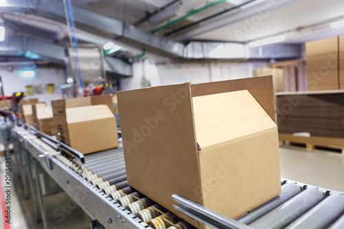 Fotografía  Cardboard boxes on conveyor belt. Board, package.