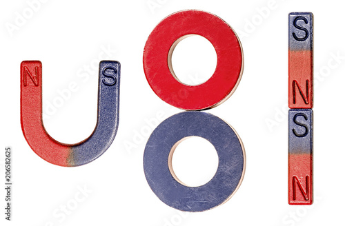 set of magnets isolated on white background