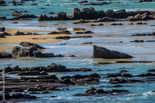Foto op Plexiglas Kust Detail of the coast cliffs in Basque Country