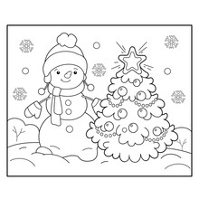 Coloring Page Outline Of Snowman With Christmas Tree. Christmas. New Year. Coloring Book For Kids