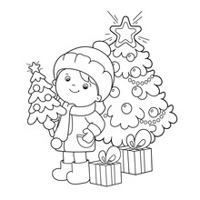 Coloring Page Outline Of Girl With Gifts And Christmas Tree. Christmas. New Year. Coloring Book For Kids