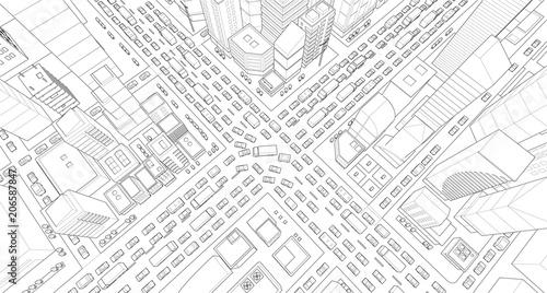 Fotografía City street Intersection traffic jams road 3d drawing