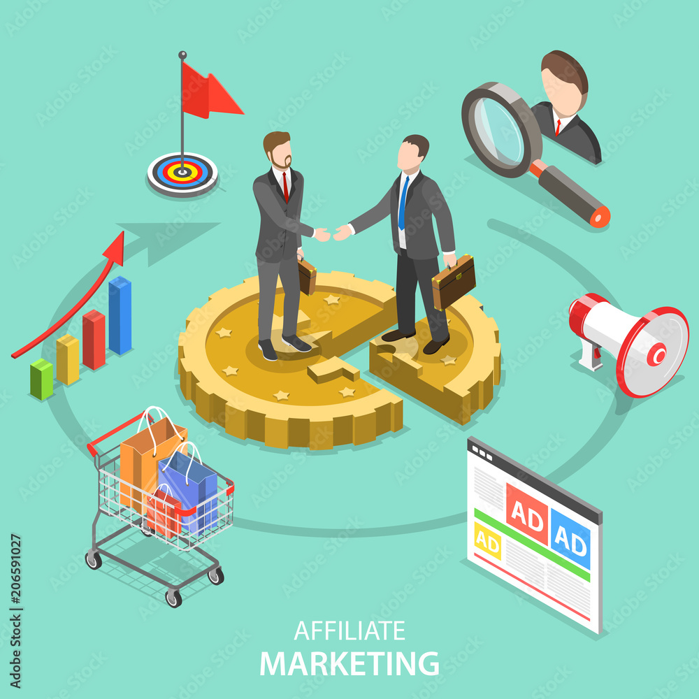 Fototapeta Flat isometric vector concept of affiliate marketing strategy, referral program, business partnership.