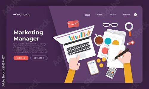 Mock-up design website flat design concept marketing manager.  Vector illustration.
