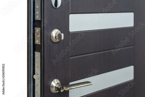 Open Armored Door Door Lock Dark Brown Door Closeup Modern