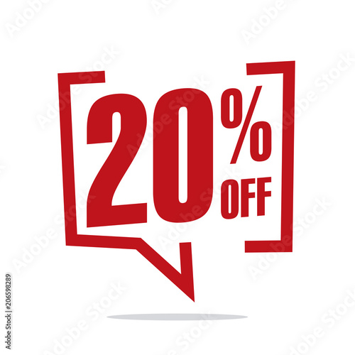 Photo  20 percent off sale white red isolated sticker icon