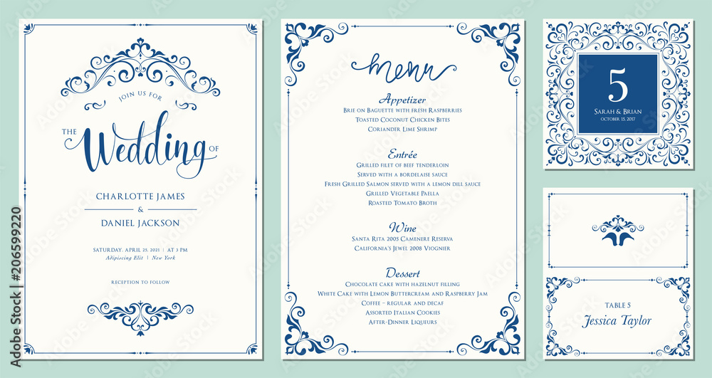 Fototapety, obrazy: Ornate wedding invitation, table number, menu and place card. Swirl floral templates. Classic vintage design.