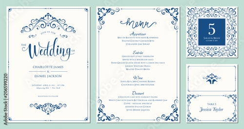 Obraz Ornate wedding invitation, table number, menu and place card. Swirl floral templates. Classic vintage design. - fototapety do salonu